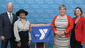State Senator Tom Killion, Lorina Marshall-Blake, President, Independence Blue Cross Foundation, Terri Edgar, Executive Director, West Chester Area YMCA Stephanie Austin, sudden cardiac arrest survivor