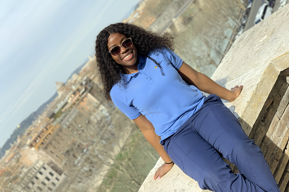 Adanna in Italy during her pediatric rotation abroad